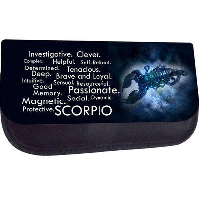 Zodiac Scorpio Traits - Black Multi-Purpose Cosmetic Case - Bag - with 2 Zippered Pockets and Nylon Lining