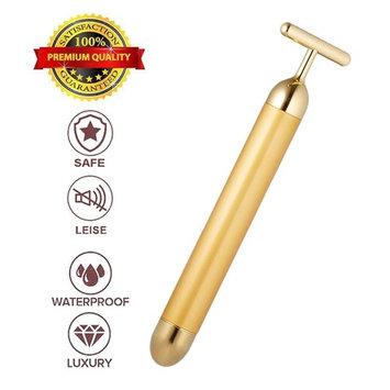 24k Golden Pulse Facial Massager, T-Shape Face Massage Tools for Sensitive Skin Face Pull Tight Firming Lift for Women (G