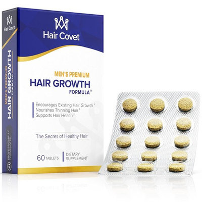 Men's Hair Growth Vitamins With Biotin (5000 mcg) | Boost Beard, Body Hair | Longer, Stronger, Thicker, and Healthier | Non-GMO, Gluten & Cruelty Free | 60 Small Tablets
