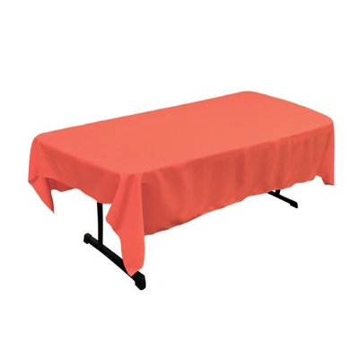 LA Linen TCpop60x90-CoralP55 Polyester Poplin Rectangular Tablecloth Coral - 60 x 90 in.