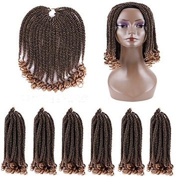 HairPhocas 6 packs Senegalese Twist Crochet Braids Hair Extension Curly Ends Kanekalon Curly Crochet Twist Braiding Hair 20Roots/Pack+1 Free Wig Cap