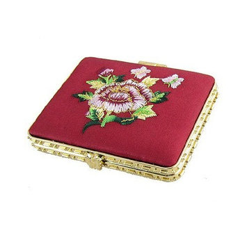 Embroidery Floral Butterfly Dual Side Burgundy Gold Tone Mirror