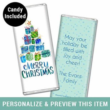 Christmas Hershey Candy Bars - Personalized Chocolate Gift, holiday favor (12 Assembled Bars) Fully Assembled