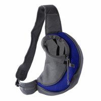 Portable Comfortable Cotton Single Shoulder Pet Dog Bag Good Ventilation Mesh Puppy Travel Carrier Front Chest Sling Bag, Blue, L