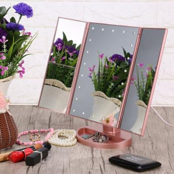 Estink Trifold 22 LED Makeup Mirror with 2x 3x Magnification Touch Screen and 180 Degree Rotation Stand for Bedroom Table Desk(Rose Gold)