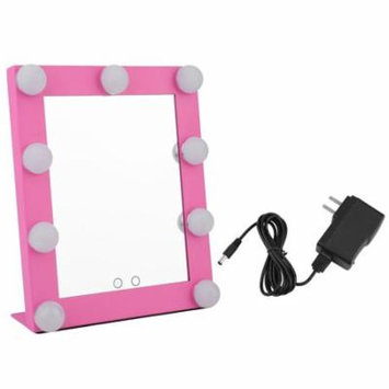 Makeup Mirror Portable Led Bulb Lighted Makeup Mirror With Dimmer Stage Us Plug Mirror With Lights Beauty Mirror Decorative Mirror Pink