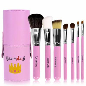 7pcs Travel MakeUp Cosmetic Set Eyeshadow Foundation Brush blusher Tools & Cylindrical Case ,Pink/Blue CYBST