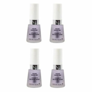 Revlon Liquid Quick Dry, 0.5 Ounce (4 Pack) + 3 Count Eyebrow Trimmer