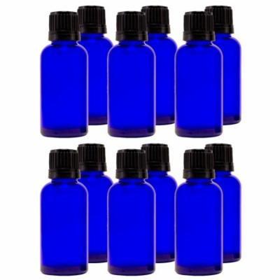 Cobalt Blue Glass Bottle - 30 ml (1 fl oz) w/ Euro Dropper & Tamper-Evident Cap - Pack of 12