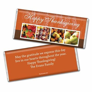 Thanksgiving Personalized Chocolate Bar (Fully Assembled) Autumn Harvest (24 Count)