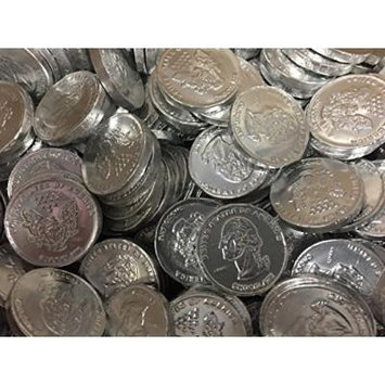 Solid Gourmet Milk Chocolate Large Gold Coins - Green Gold Silver and Pink / Purple - 2 Full Pounds Bulk Wholesale (Shiny Silver)