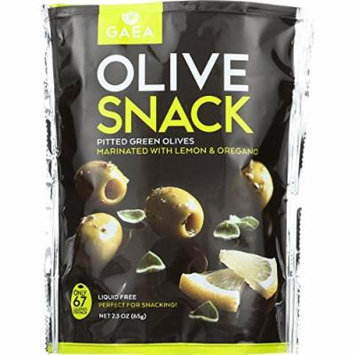 Gaea - Pitted Green Olives - with Oregano and Lemon - Perfect For Snacking - 2.3 oz - Case of 8 - Gluten Free - All Natural