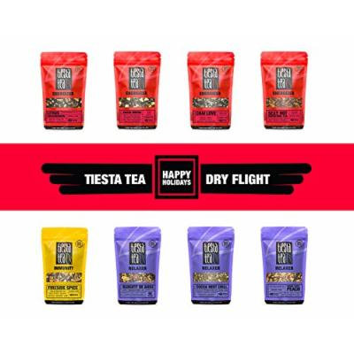 Tiesta Tea HOLIDAY Dry Flight, 8 Loose Tea Blends Perfect for The Holidays, 8 to 12 Servings of Each Flavor, Sampler Gift Set