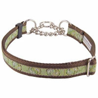 Country Brook Petz™ Paisley Pairs Woven Ribbon on Brown Half Check Dog Collar Limited Edition