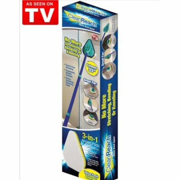 Clean Reach 4-Piece Cleaning Set with 3 Cleaning Pads and 1 Telescoping Handlein Blue