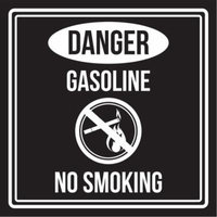 Danger Gasoline No Smoking Black and White Business Commercial Safety Warning Square Sign - 9x9