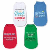 Dog Clothes & Apparel - Set of 4 Funny T-Shirts, Medium