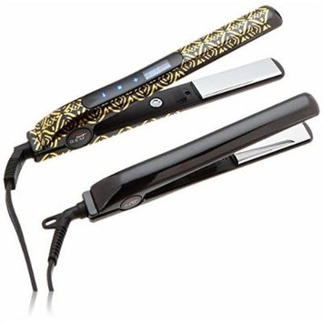 CHI Smart Gemz Volumizing Zirconium Titanium Jet Black Metallic Foil 1 Inch Hairstyling Iron With 3/4 Inch Travel Iron, Hair Clips and Thermal Pouch, Jet Black Metallic