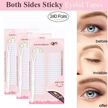 240 Pairs Invisible Double Side Sticky Eyelid Tapes Stickers, Made of medical-use adhesive fiber, Instant Eyelid Lift Without Surgery, Perfect for Hooded, Droopy, Uneven, Mono-eyelids