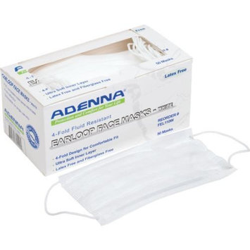 Adenna Earloop Face Mask Latex Free White 50 Per Box