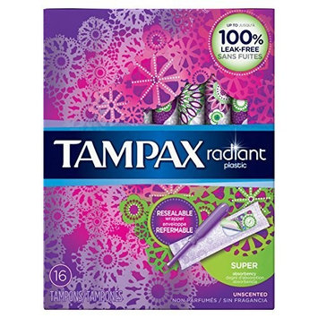 Tampax Radiant Tampons with Plastic Applicators Super Absorbency Unscented 16 EA - Buy Packs and SAVE (Pack of 2)