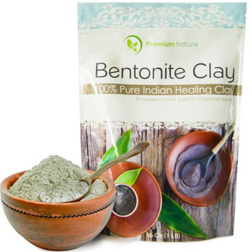 Indian Healing Bentonite Detox Clay - 16 oz 100% Natural Face Mask Reduces Acne - Aztec Natural Deep Pore Cleansing - All Natural for Skin & Hair Removes Toxins by Premium Nature