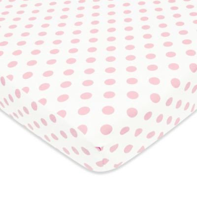 TL Care® Cotton Flannel Polka Dot Fitted Crib Sheet