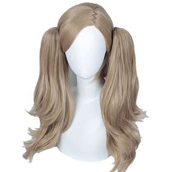 Linfairy Long Cosplay Wig with two Ponytails Halloween Costume Wig for Women Grey Apricot