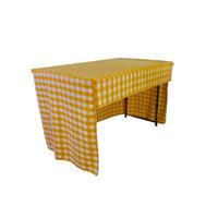 LA Linen TCcheck-OB-fit-96x18x30-LghtYellowK99 Open Back Fitted Checkered Classroom Tablecloth White & Light Yellow - 96 x 18 x 30 in.