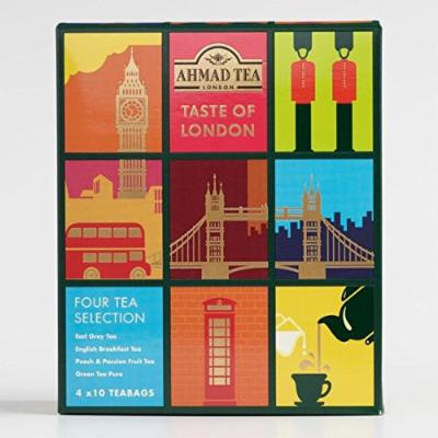 Ahmad Tea Taste of London, 40 Tea Bags: Earl Grey, English Breakfast, Peach and Passion Fruit, and Pure Green Tea