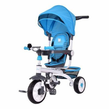 4-in-1 Detachable Baby Stroller Tricycle w/ Round Canopy + Basket - Blue