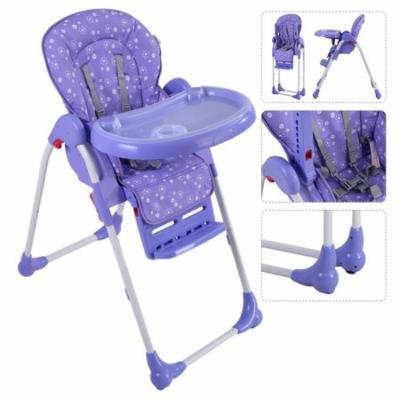 Adjustable Baby High Chair Infant Toddler Feeding Booster Seat Folding - Purple