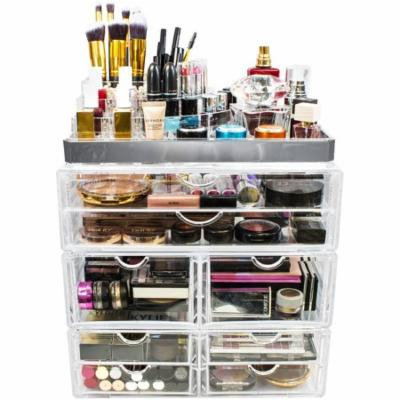 Sorbus Acrylic Cosmetic Makeup and Jewelry Storage Case Display with Silver Trim, Spacious Design, Silver Set 2