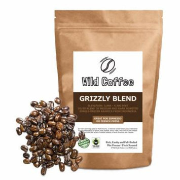 Organic Coffee Beans by Wild Foods - Grizzly Blend - Med/Dark Roast blend of Organic, Fair Trade, Single-Origin Beans Roasted in Austin 12oz
