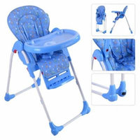 Adjustable Baby High Chair Infant Toddler Feeding Booster Seat Folding - Blue