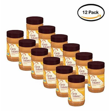 PACK OF 12 - Earth Balance Natural Creamy & Flaxseed Peanut Butter, 16 oz