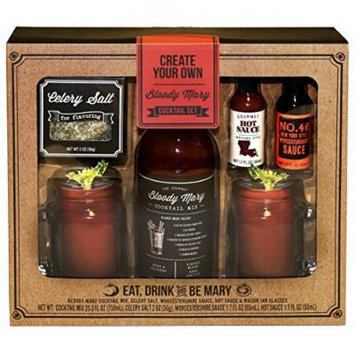 Create Your Own Bloody Mary Gift Set | Two Mason Jars with Handles, Bloody Mary Mix, Gourmet Hot Sauce, Worcestershire Sauce, & Celery Salt