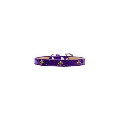 Bronze Fleur De Lis Widget Dog Collar Purple Ice Cream Size 14