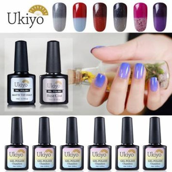 Ukiyo Thermal Color Change Chameleon UV Gel Polish With No Wipe Gel Top Coat And Base Coat Multicolor Combo Color Set Of 8pcs X 10ml 0.33fl.oz Nail Polish Set 02