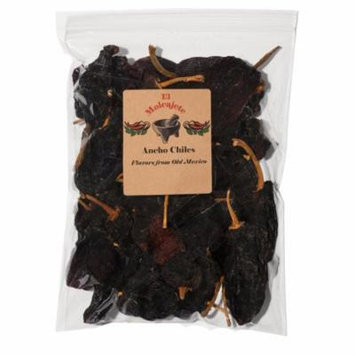 Dried Ancho Mexican Whole Dried Chile- 8 oz Resealable Bag - El Molcajete Brand for Mexican Recipes, Tamales, Salsa, Chili, Meats, Soups, Stews & BBQ