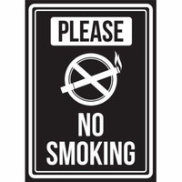 Please No Smoking Black And White Business Commercial Safety Warning Small Sign, 7.5x10.5 Inch