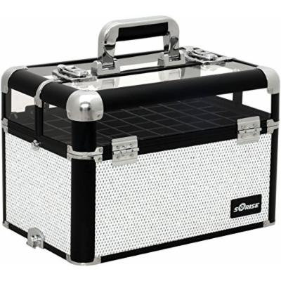 Sunrise Onesta Heavy Duty Makeup Case Professional Nail Travel Organizer Box, White Krystal, 7 Pound