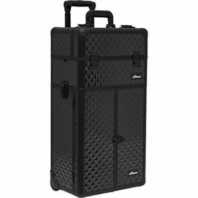 Sunrise Garibaldi 2-In-1 Rolling Makeup Case Professional Nail Travel Organizer Box, Black Diamond, 22 Pound