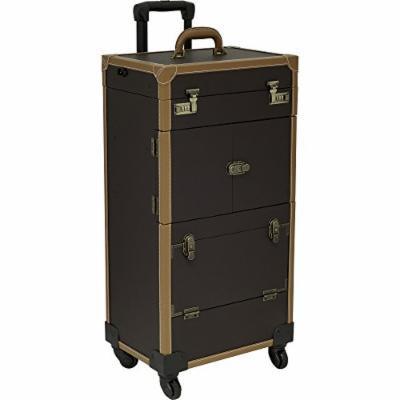 Sunrise Anconeta LED Lighted Rolling Makeup Case Professional Nail Travel Wheel Organizer, Brown Leatherette, 32 Pound