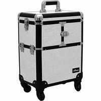 Sunrise Le Sechere Heavy Duty Rolling Makeup Case Professional Nail Travel Organizer Box, White Krystal, 16 Pound