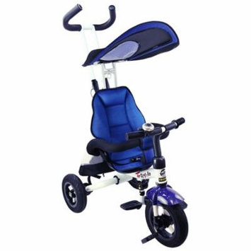 4-in-1 Detachable Learning Baby Tricycle Stroller w/ Canopy Bag - Blue