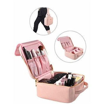 Portable Makeup Bag Professional Makeup Case Travel Cosmetic Toiletry Organizer with Shoulder/Pull rod Sleeve/Mirror Waterproof for Gift Festival Surprise (Small, Pink)