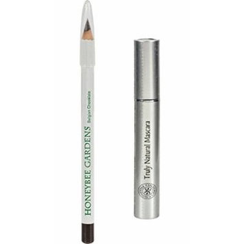 Honeybee Gardens Belgian Chocolate Effortless Eye Liner and Espresso Truly Natural Mascara with Coconut, Saw Palmetto Fruit, Avocado Butter, Olive Fruit Oil and Candelilla Wax, 0.04 oz and 0.2 oz