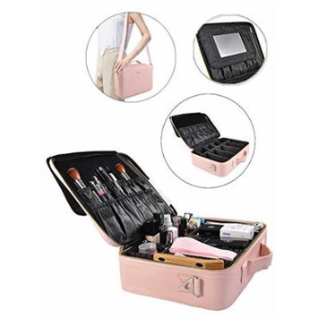 Portable Makeup Bag Professional Makeup Case Travel Cosmetic Toiletry Organizer with Shoulder/Pull rod Sleeve/Mirror Waterproof for Gift Festival Surprise (Large, Pink)