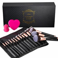 Makeup Brush Gift Set, Anjou 16pcs Premium Cosmetic Brushes with Elegant Gift Box, Makeup Sponge, Silicone Brush Cleaning Mat and PU Leather Roll Clutch Included